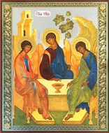 Old Testament Trinity, Orthodox Christian Icon on Thin Wood