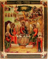 Old Testament Trinity with Abraham and Sarah, Hand Written (Painted) Orthodox Icon.