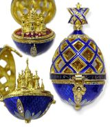 Open Up Faberge Style Pendant Egg with  St Basil Cathedral, Blue