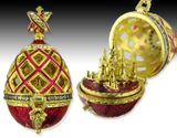 Open Up Faberge Style Pendant Egg with  St Basil Cathedral, Red