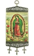 Our Lady of Guadalupe, Tapestry Icon Banner, Green