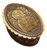 Oval Birch Box with Icon Virgin of Passions, Keepsake Holder
