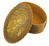 """Oval Birch Box with Icon Virgin Mary """"Sweet Kissing"""""""