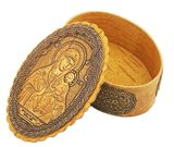 Oval Birch Box with Icon Virgin Mary Eternal Bloom