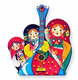 Pack of 10 Matreshka Magnets With Balalaika