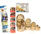 Paint Your Own Stocking Dolls (Matreshka), Set of 5 Wooden Dolls