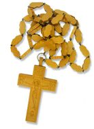 Pectoral Wooden Cross  with Wooden Chain, Hand Carved