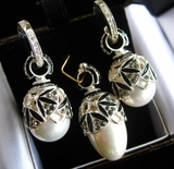 Perl Set of Earrings with Egg Pendant,  Sterling Silver, Swarovsky Crystals