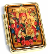 Pill Box and Mirror with Icon Virgin Mary the Unfading Blossom
