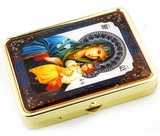 Pill Box & Mirror with Icon Virgin Mary the Eternal Bloom