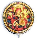 Pill Box  with Icon Virgin Mary the Unfading Blossom