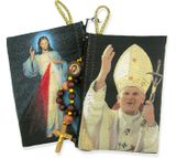 Pope John Paul & Devine Mercy Two Sided Rosary Pouch