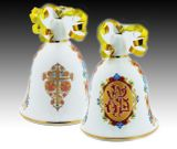 "Porcelain Bell, Two Sided, with ""XB"" and Cross Ornaments"