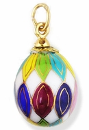 Porcelain  Egg Pendant  Hand Painted  With Gold Highlights