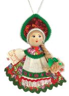 Russian Wooden Doll with Porcelain Face, Christmas Decoration