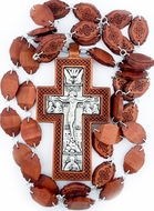 Priest Wooden Pectoral Cross, Oak Wood  & Silver Plate with Chain