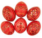 Red Color Ukrainian Pysanky Wooden Eggs, Set of 6
