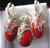 Red Coral Set of Earrings with Egg Pendant,  Sterling Silver, Swarovsky Crystals
