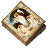 Resurrection of Christ, Wooden Icon Box With Floral Boarders