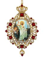 Resurrection of Christ, Panagia Style Icon Ornament / Red Crystals