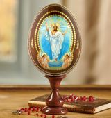 Resurrection of Christ, Wooden Icon Egg on Stand