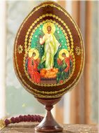 Resurrection of Christ, Decoupage Wooden Egg with Stand