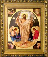 Resurrection of Christ,  Gold Framed Icon with Crystals and Glass