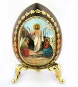 Resurrection of Christ, Icon Wooden  Egg with  Stand