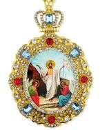Resurrection of Christ, Jeweled  Icon Pendant with Chain