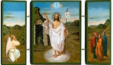Resurrection of Christ, Orthodox Christian Triptych Icon,  Gold Foil