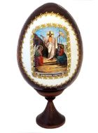 Resurrection of Christ, Wooden Icon Egg with Stand