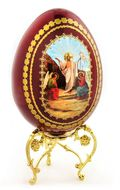 Resurrection of Christ,    Wooden Decoupage Icon Egg with  Stand