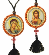 Reversible Beaded Icon of Christ & Virgin Mary on Rope w/Cross