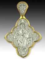 Reversible Medal Christ Almighty, Sterling Silver 925, 22kt Gold Plated, Large