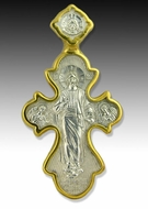 Reversible Orthodox Cross, Sterling Silver 925, 22kt Gold Plated