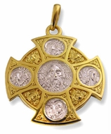 Reversible Silver /Gold Plated Cross with Christ  & Saints