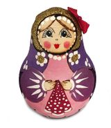 "Roly-Poly, Wooden Musical Doll ""Nevalyashka"" with the Bow, Purple"