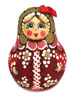 "Roly-Poly, Wooden Musical Doll ""Nevalyashka"" with the Bow, Red"