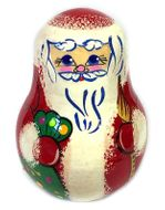 "Roly-Poly ""Santa"", Wooden Hand Painted Musical Russian Doll ""Nevalyashka"""