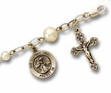 Rosary Bracelet for Children, Sterling Silver / Pearl with Medal & Crucifix