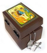 Rosary Keepsake Holder Box with Icon of Holy Trinity