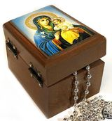 Rosary Keepsake Holder Box with Icon of Virgin Mary Eternal Bloom