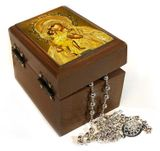Rosary Keepsake Holder Box with Virgin of Vladimir Icon