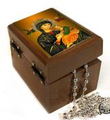Rosary Keepsake Holder Box with Virgin Mary of Passion Icon