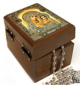 Rosary Keepsake Holder Box with Virgin of Kazan Icon