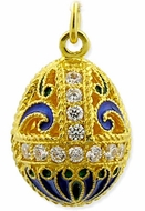 Russian Style Pendant Egg, Sterling Silver, Gold Plated, Blue