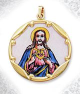 Sacred Heart of Jesus, 10KT Gold Framed, Hand Painted Porcelain & Enamel Pendant