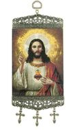 "Sacred Heart of Jesus, Tapestry Icon Banner, `10"" H"