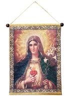 Sacred Hearts of Virgin Mary, Hanging Tapestry Icon Banner