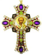 Saint Nicholas Icon in  Jeweled Wall Cross